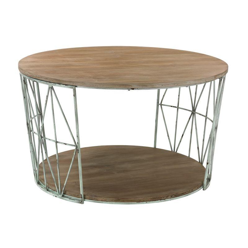 Sterling Industries 138-167 Round Wood & Metal Coffee Table Grey