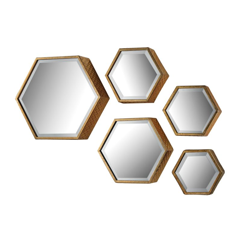 "Sterling Industries 138-170/S5 Hexagonal 14"" x 16"" Wall Mirror - Set"