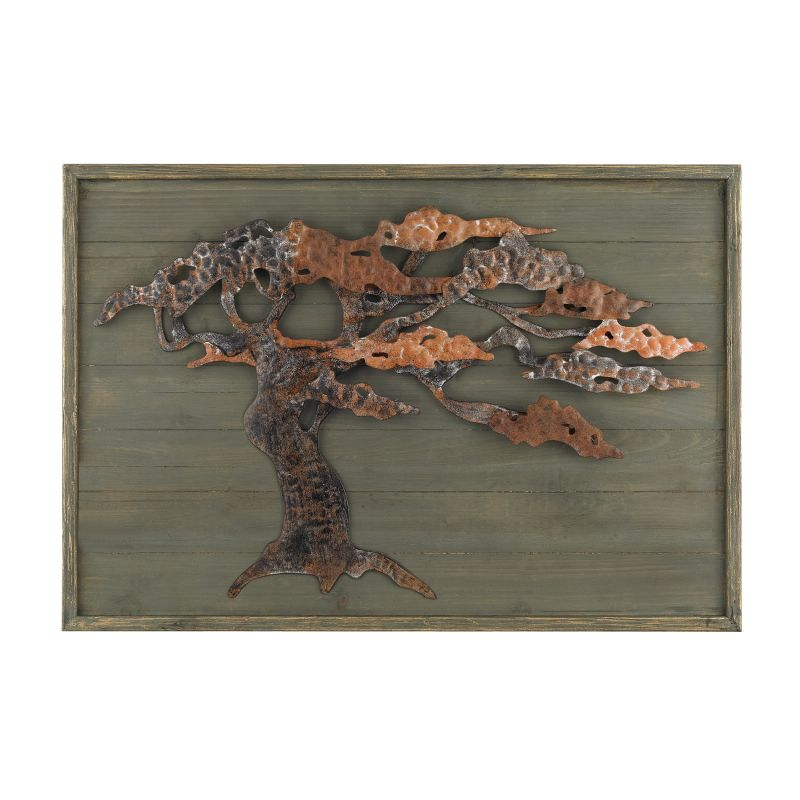 Sterling Industries 138-173 Wood & Metal Tree Wall Art Aged Green Home