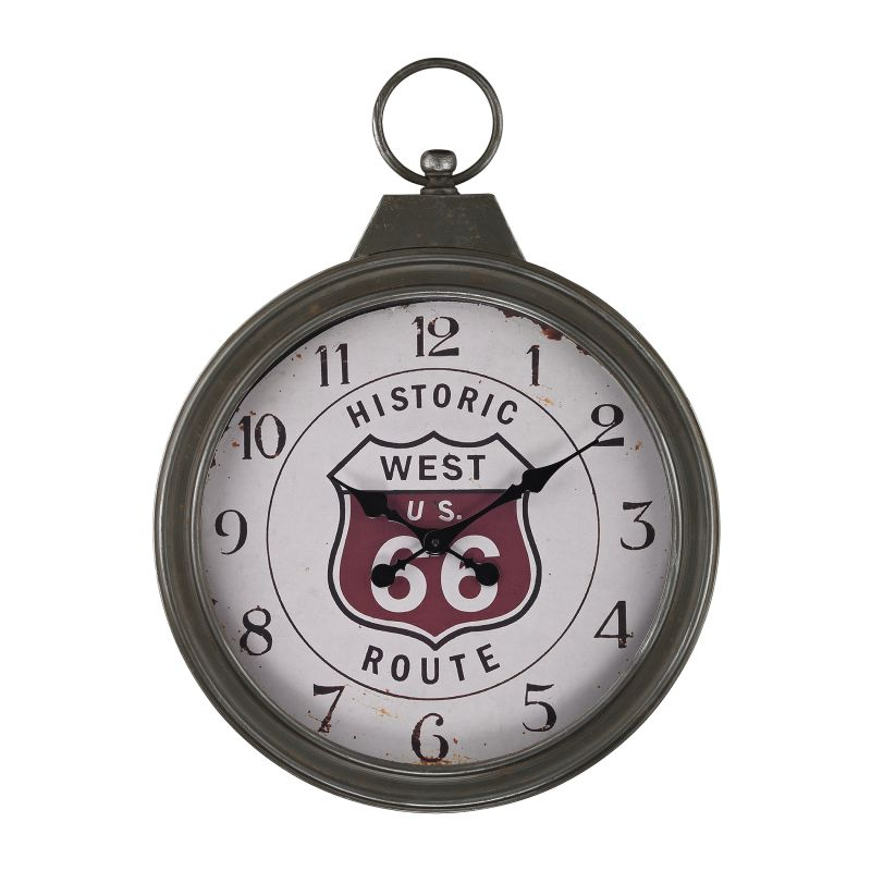 Sterling Industries 138-175 Fob Style Route 66 Analog Wall Clock Aged