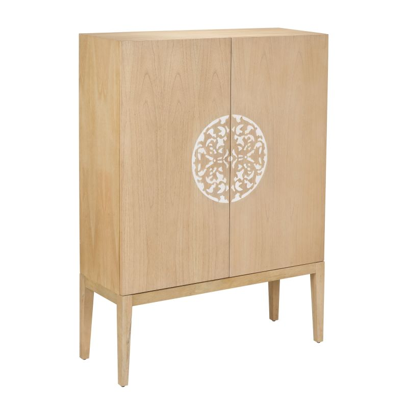 Sterling Industries 150-026 2 Doors Wood Cabinet with Resin Accent