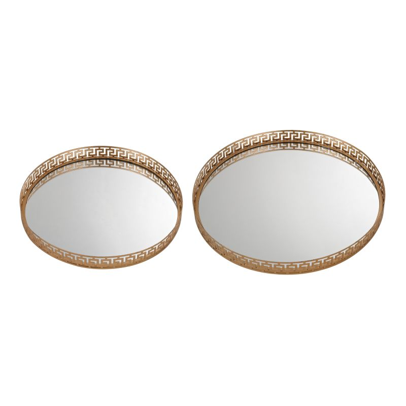 Sterling Industries 172-012/S2 Mirrored Greek Key Tray - Set of Two
