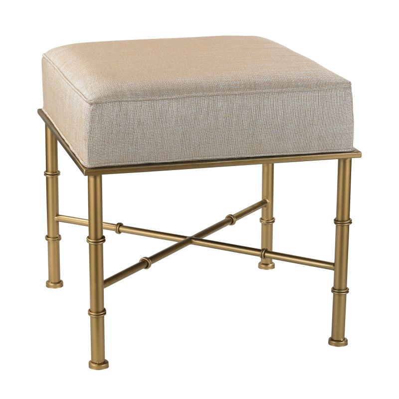 Sterling Industries 180-014 Gold Cane Stool with Cream Metallic Fabric