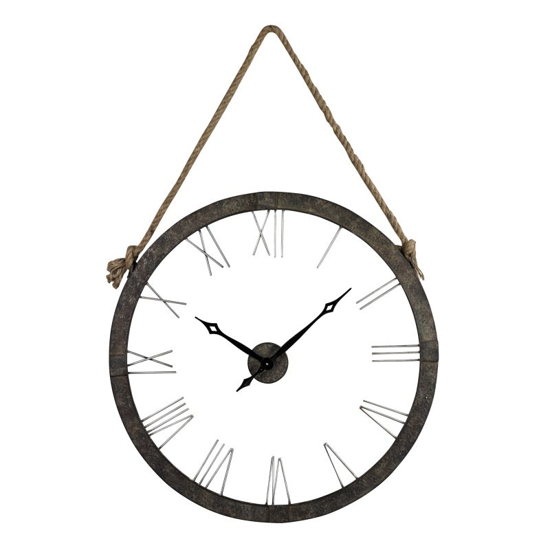 "Sterling Industries 26-8643 36"" Height Metal Wall Clock Hung On Rope"