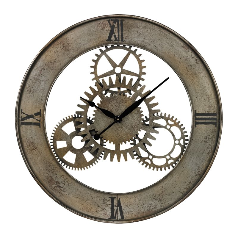 Sterling Industries 26-8666 Industrial Cog Analog Wall Clock Silver
