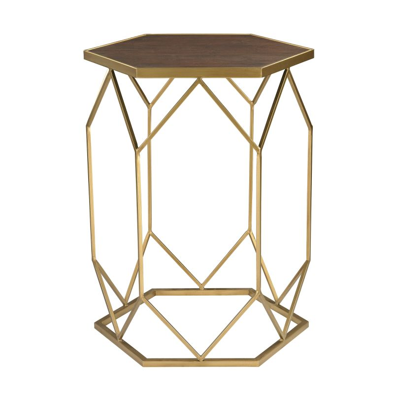 Sterling Industries 51-010 Hexagon Frame Side Table Gold Furniture End
