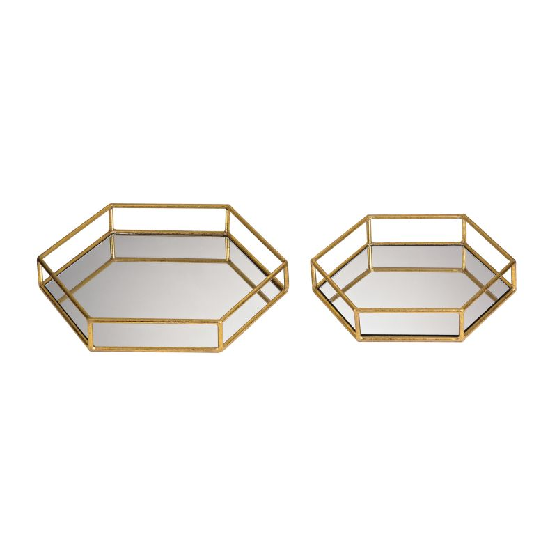 Sterling Industries 51-024/S2 Mirrored Hexagonal Trays - Set of Two