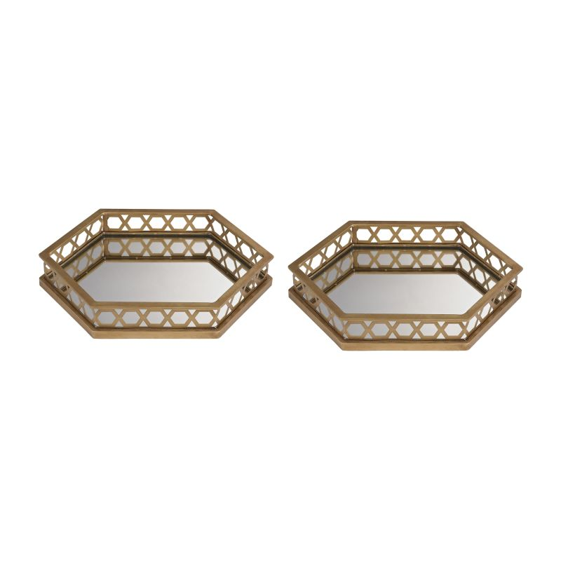 Sterling Industries 51-025/S2 Ribbed Hexagonal Mirrored Trays - Set of