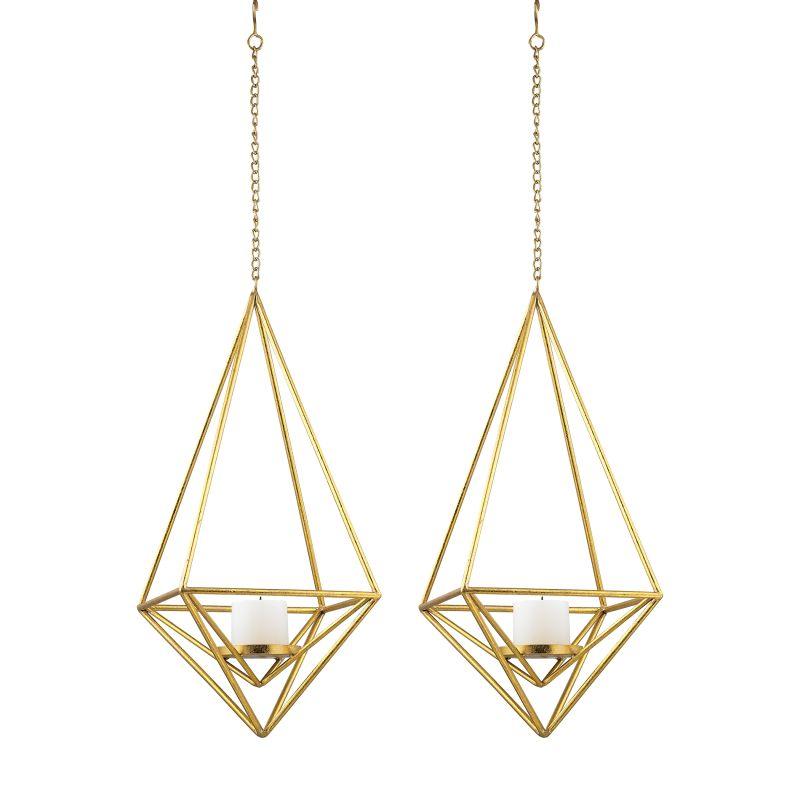 Sterling Industries 51-030/S2 Pillar Light Pendants - Set of Two Gold