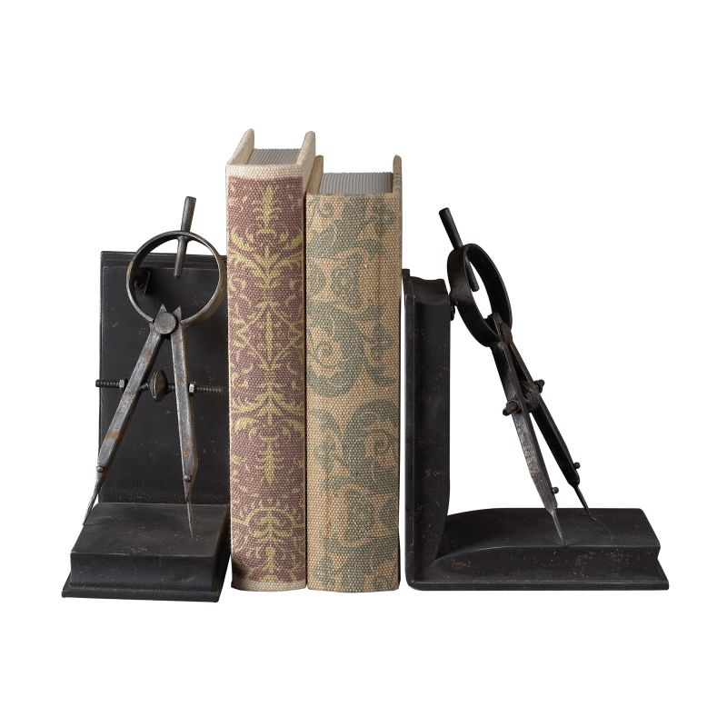 Sterling Industries 51-10002 Compass Bookends Restoration Rusted Black