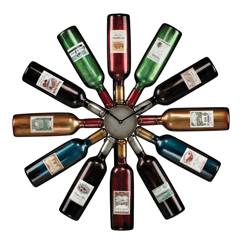 Sterling Industries 51-10085 Wine Bottle Clock Multi Colored Home