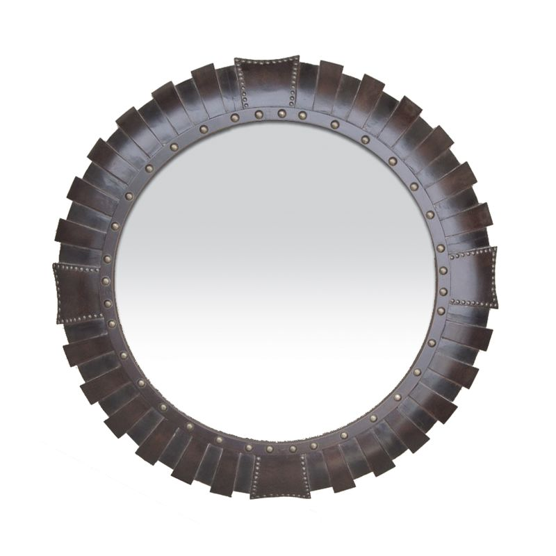 Sterling Industries 53-1031M Palencia Circular Mirror Leather Stud