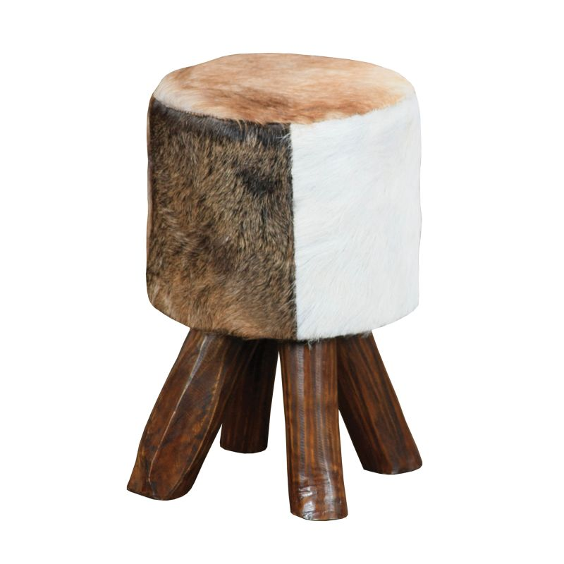 "Sterling Industries 6500535 18"" Height Stool Cow Hide / Brown Leg"