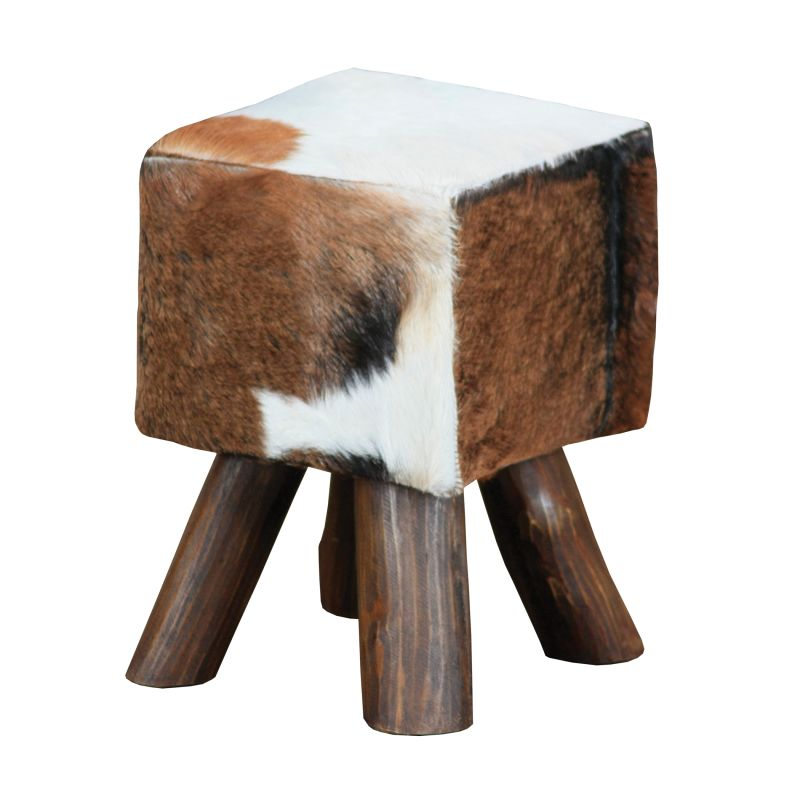 "Sterling Industries 6500536 12"" Width Stool Cow Hide / Brown Leg"