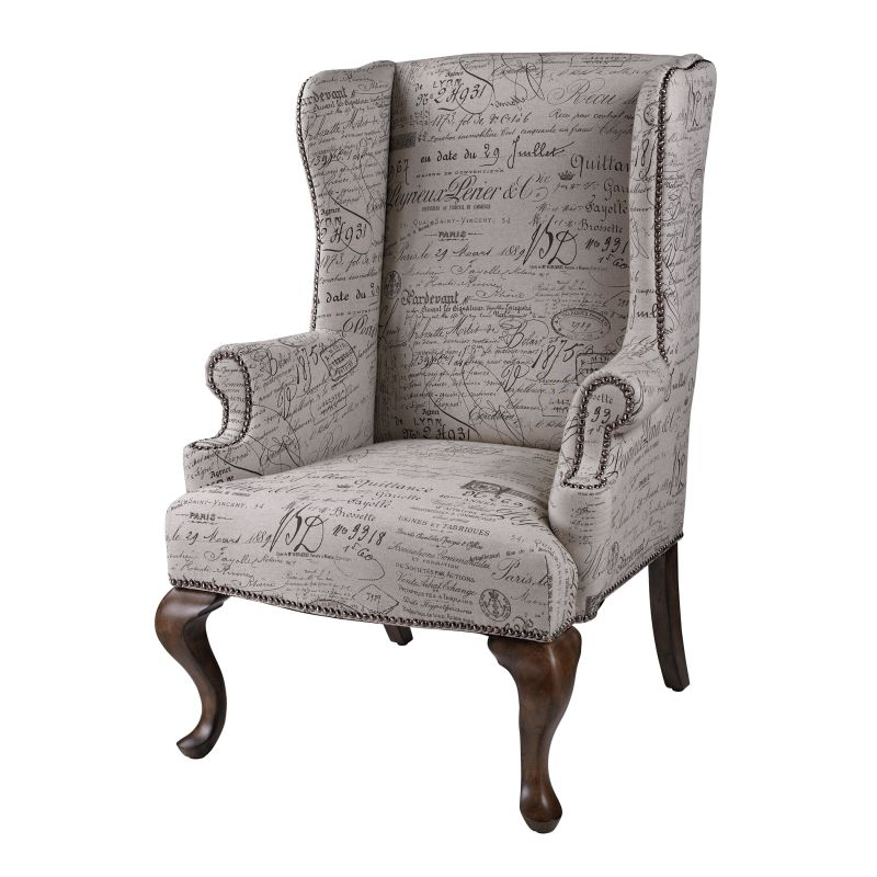 """Sterling Industries 6071399 46"""" Height Marianne Wing Chair Neutral"""