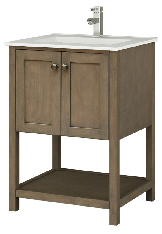 """Sunny Wood AN2421 Aiden 24"""" Hardwood Vanity Cabinet Only Taupe Fixture"""