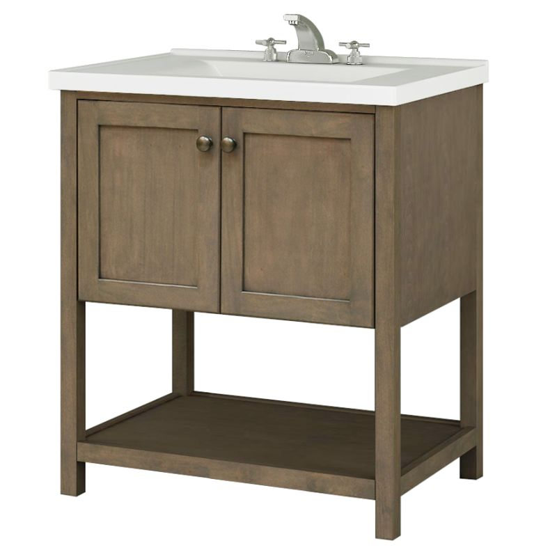 """Sunny Wood AN3021 Aiden 30"""" Hardwood Vanity Cabinet Only Taupe Fixture"""