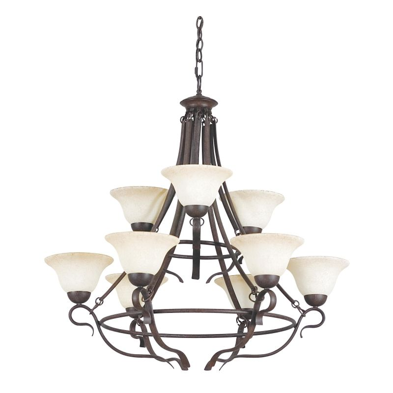 "Sunset Lighting F5499 9 Light 540 Watt 33"" Width Chandelier Rubbed"