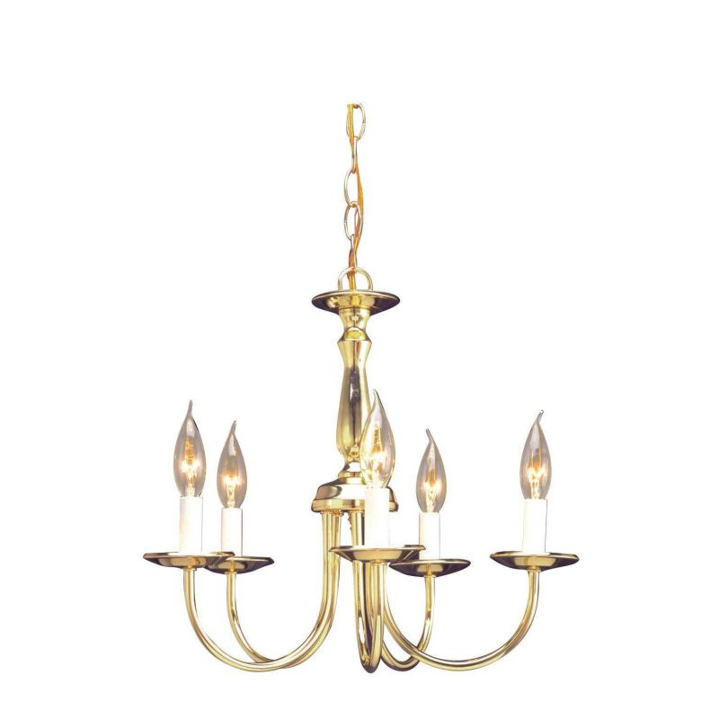 "Sunset Lighting F6360 5 Light 300 Watt 17"" Width Chandelier Polished"