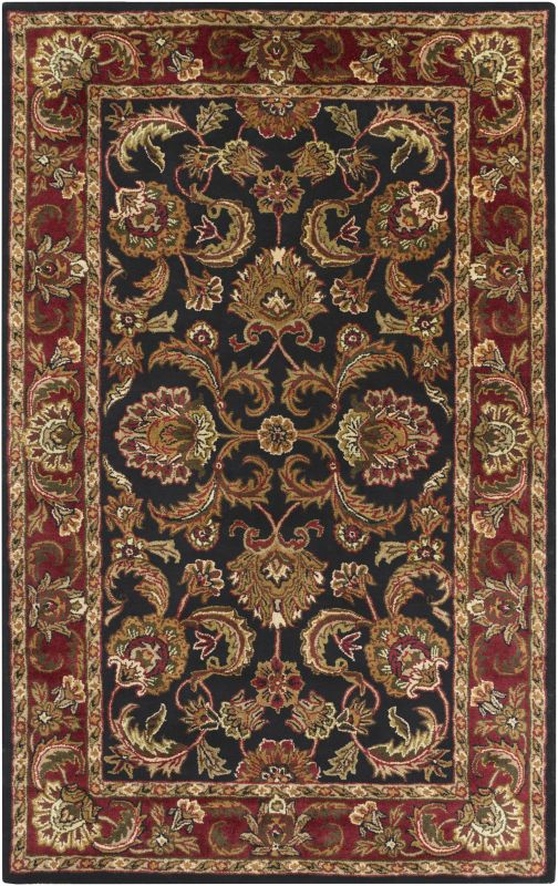 Surya A-108 Ancient Treasures Hand Tufted New Zealand Wool Rug Black 5