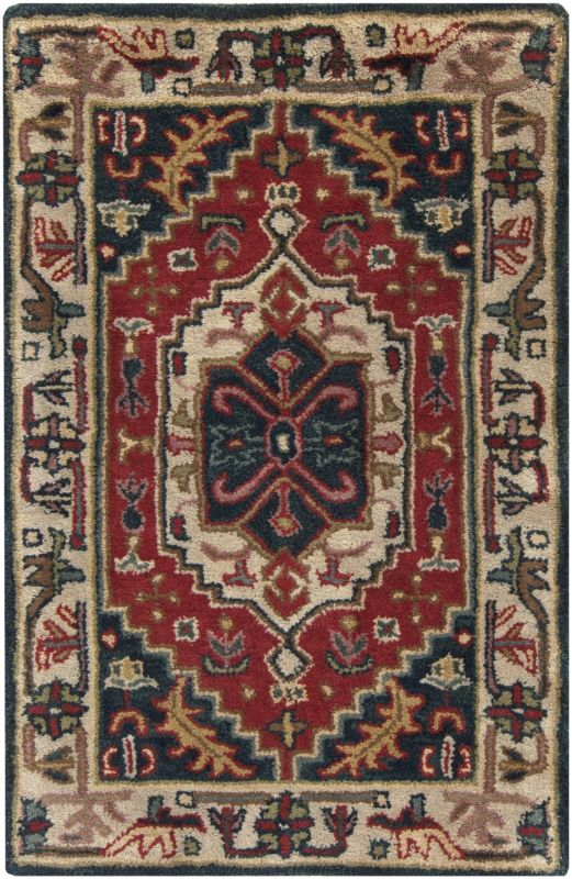 Surya A-134 Ancient Treasures Hand Tufted New Zealand Wool Rug Red 3 x