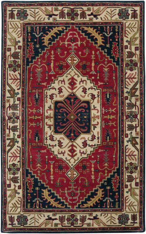 Surya A-134 Ancient Treasures Hand Tufted New Zealand Wool Rug Red 5 x