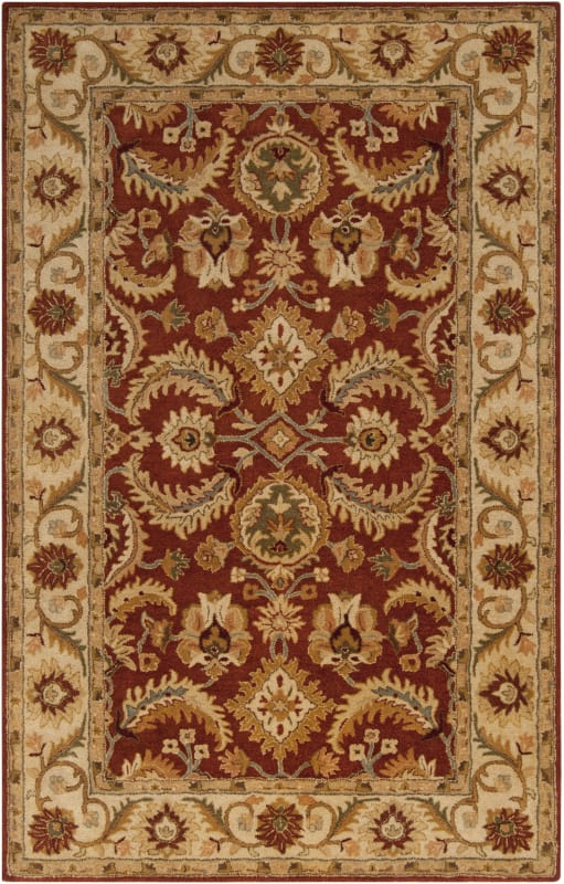 Surya A-147 Ancient Treasures Hand Tufted New Zealand Wool Rug Red 5 x