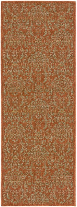 Surya ABS-3007 Arabesque Power Loomed Polypropylene Rug Orange 8 x 10