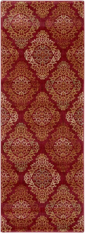 Surya ABS-3014 Arabesque Power Loomed Polypropylene Rug Red 2 1/2 x 4