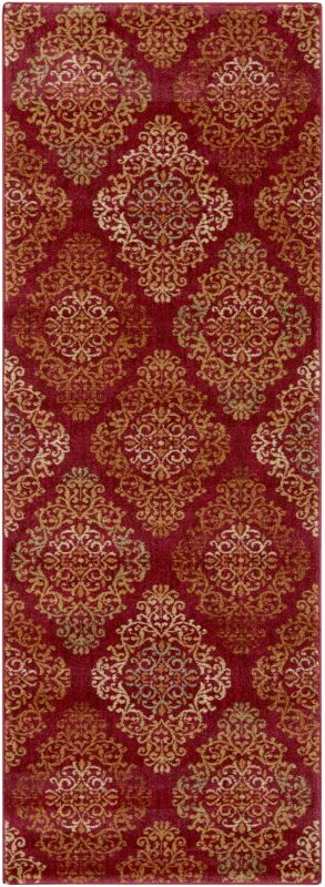 Surya ABS-3014 Arabesque Power Loomed Polypropylene Rug Red 2 1/2 x 7