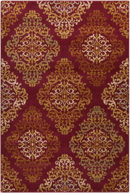 Surya ABS-3014 Arabesque Power Loomed Polypropylene Rug Red 5 x 7 Home