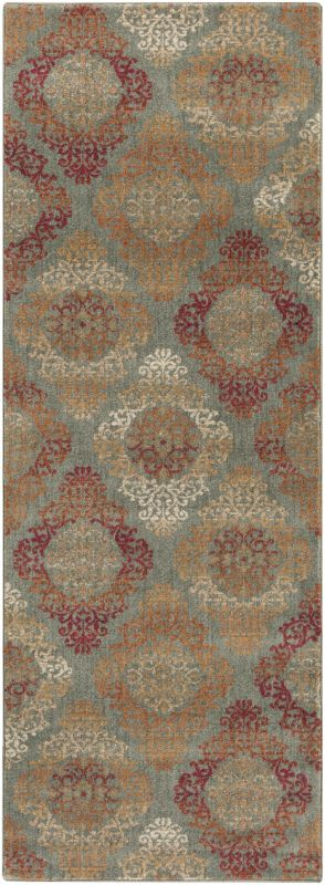 Surya ABS-3022 Arabesque Power Loomed Polypropylene Rug Green 2 1/2 x