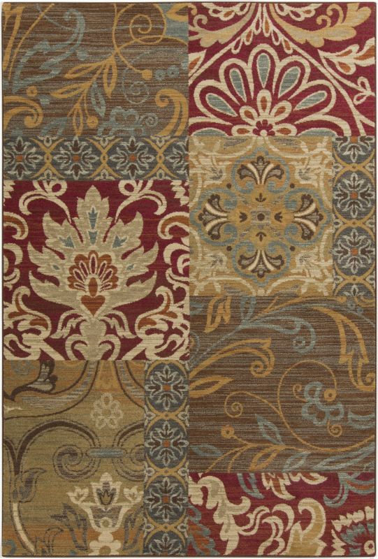 Surya ABS-3025 Arabesque Power Loomed Polypropylene Rug Red 5 x 7 Home