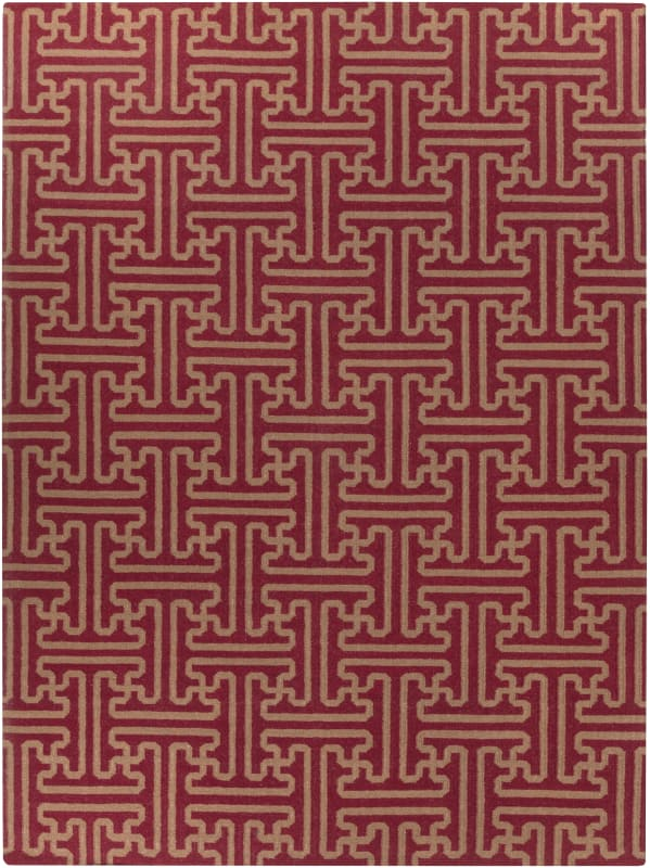 Surya ACH-1701 Archive Hand Woven Wool Rug Red 8 x 11 Home Decor Rugs