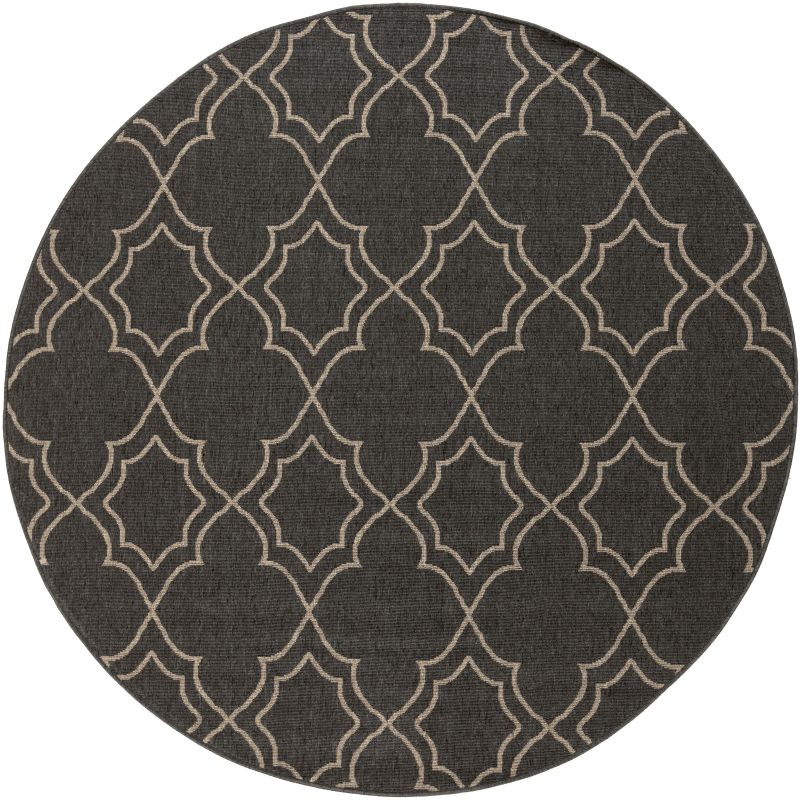 Surya ALF-9590 Alfresco Power Loomed Polypropylene Rug Black 7 x 7