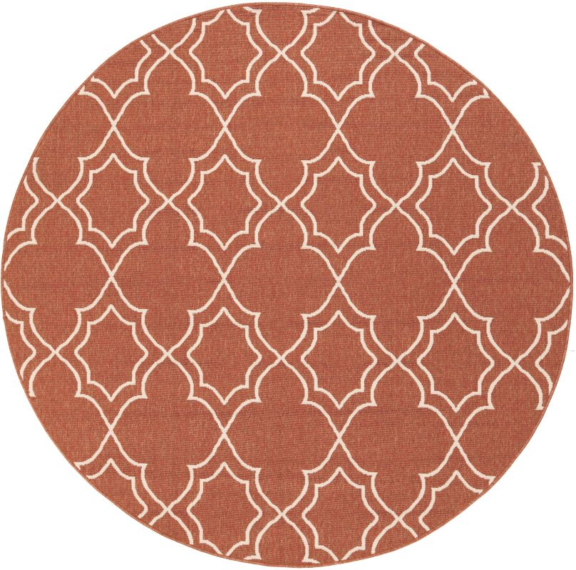 Surya ALF-9591 Alfresco Power Loomed Polypropylene Rug Red 7 x 7 Round