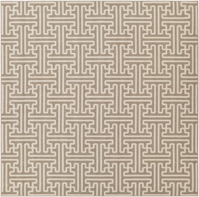Surya ALF-9599 Alfresco Power Loomed Polypropylene Rug Brown 8 1/2 x 8