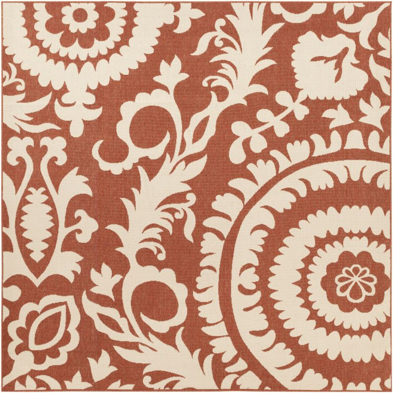 Surya ALF-9613 Alfresco Power Loomed Polypropylene Rug Red 8 1/2 x 8