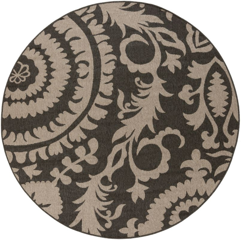 Surya ALF-9615 Alfresco Power Loomed Polypropylene Rug Black 7 x 7