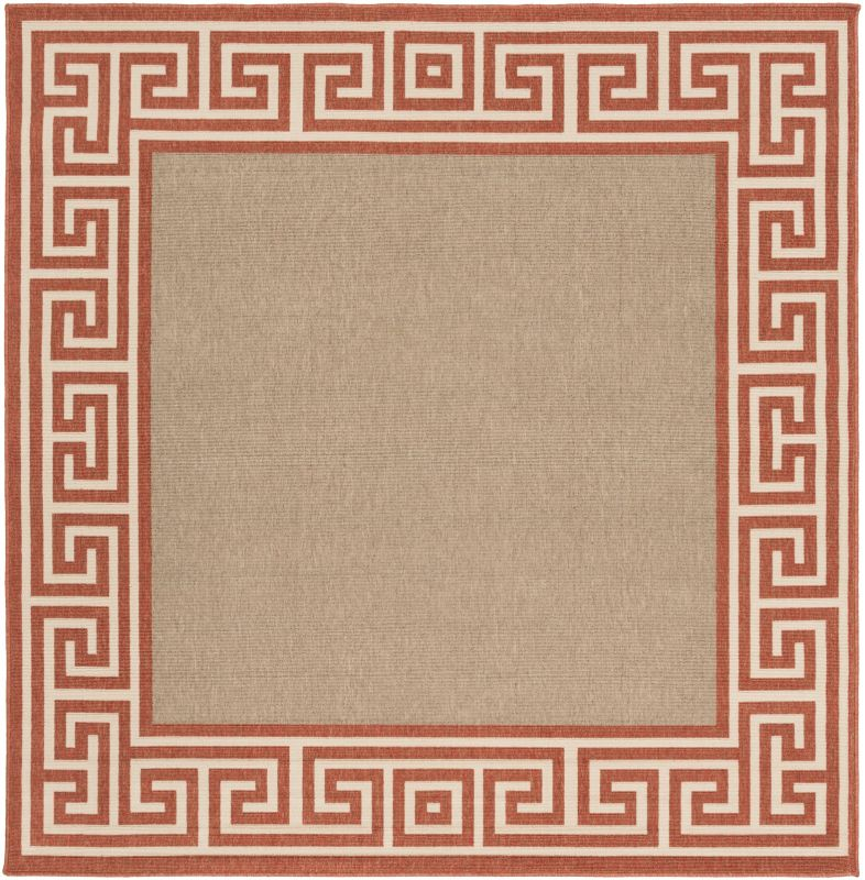 Surya ALF-9628 Alfresco Power Loomed Polypropylene Rug Orange 7 x 7