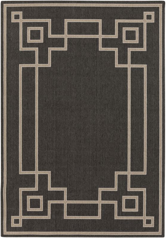 Surya ALF-9630 Alfresco Power Loomed Polypropylene Rug Black 5 x 7 1/2