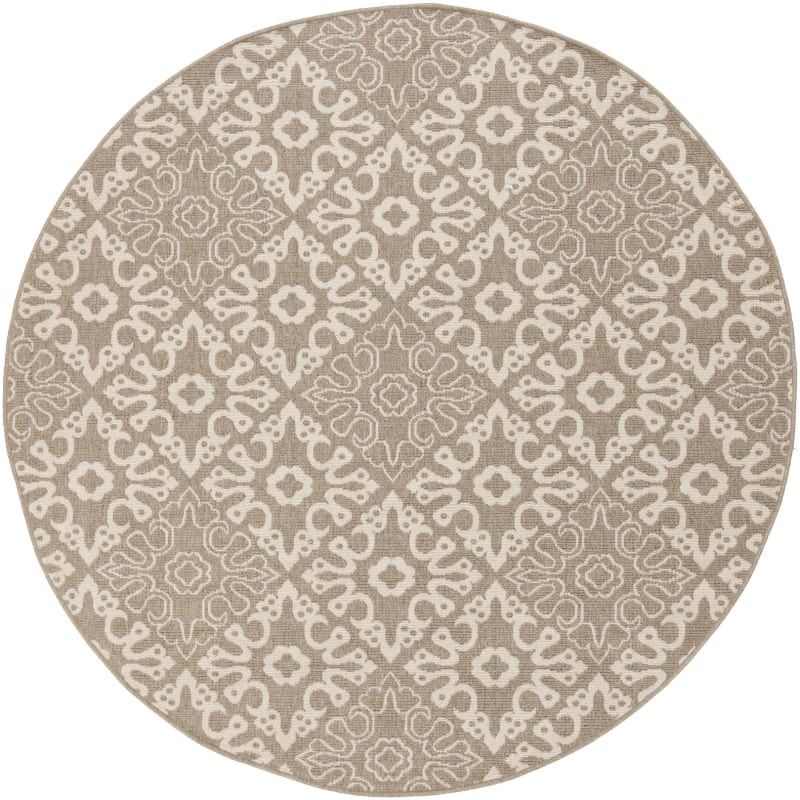 Surya ALF-9635 Alfresco Power Loomed Polypropylene Rug Brown 7 x 7