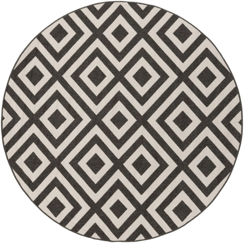 Surya ALF-9639 Alfresco Power Loomed Polypropylene Rug Black 8 1/2 x 8