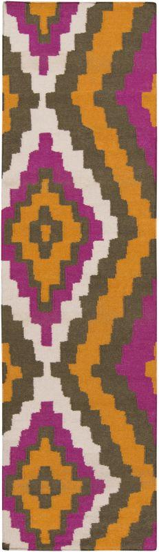 Surya AMD-1028 Alameda Hand Woven Wool Rug Orange 2 1/2 x 8 Home Decor