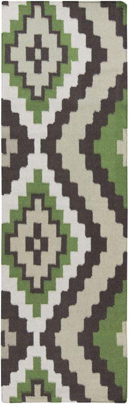 Surya AMD-1048 Alameda Hand Woven Wool Rug Green 2 1/2 x 8 Home Decor