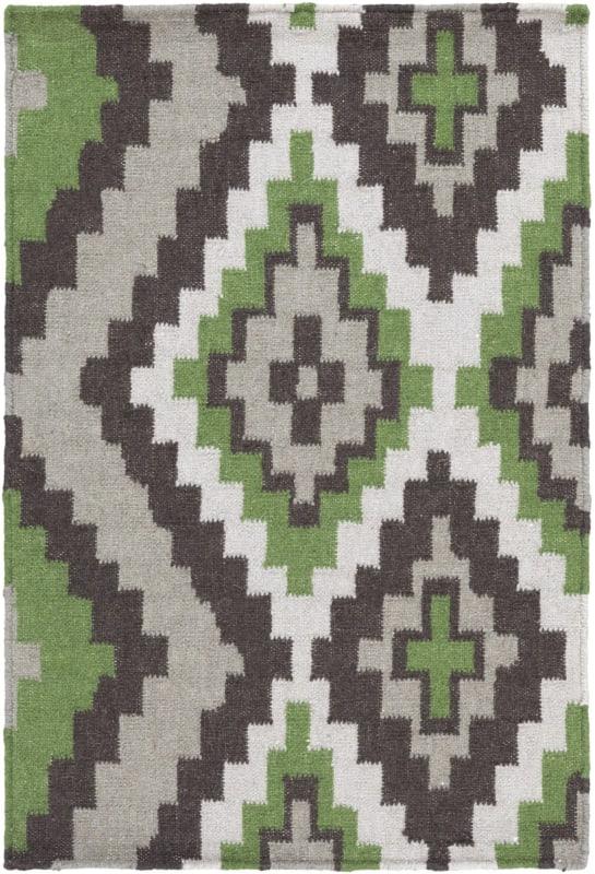 Surya AMD-1048 Alameda Hand Woven Wool Rug Green 8 x 11 Home Decor
