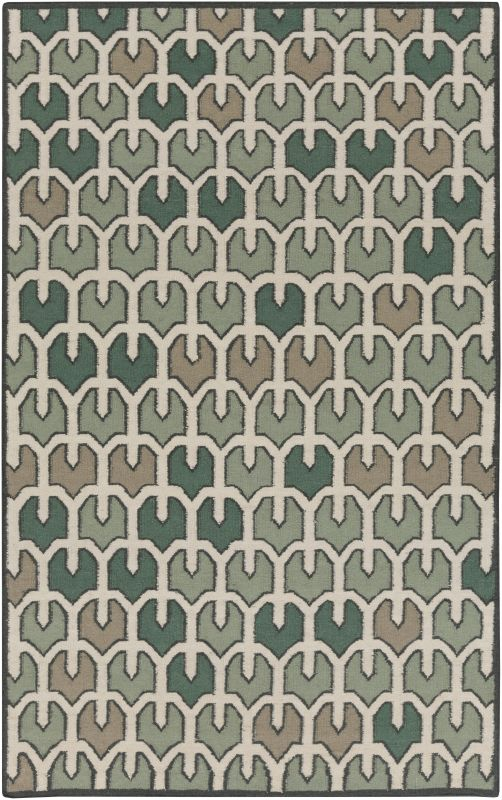 Surya AMD-1078 Alameda Hand Woven Wool Rug Green 5 x 8 Home Decor Rugs