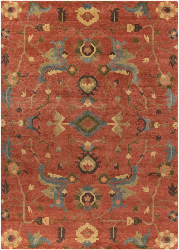 Surya ANA-8411 Anastacia Hand Knotted New Zealand Wool Rug Orange 8 x