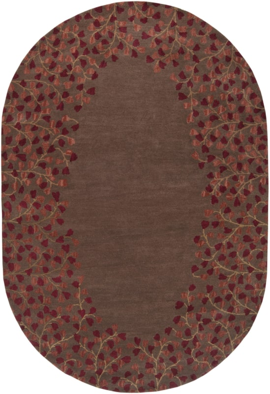 Surya ATH-5003 Athena Hand Tufted Wool Rug Red 6 x 9 Oval Home Decor