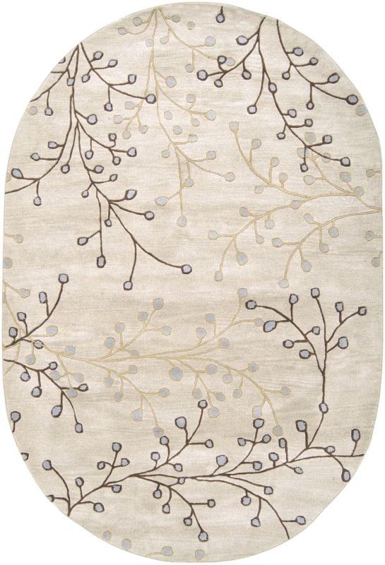 Surya ATH-5008 Athena Hand Tufted Wool Rug Gray 6 x 9 Oval Home Decor